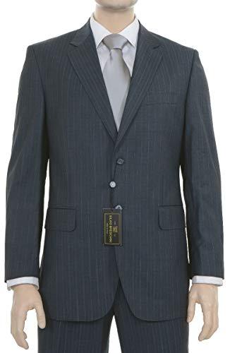 Silvio Bresciani Mens Blue Pinstriped Two Button Super 120s Wool Suit
