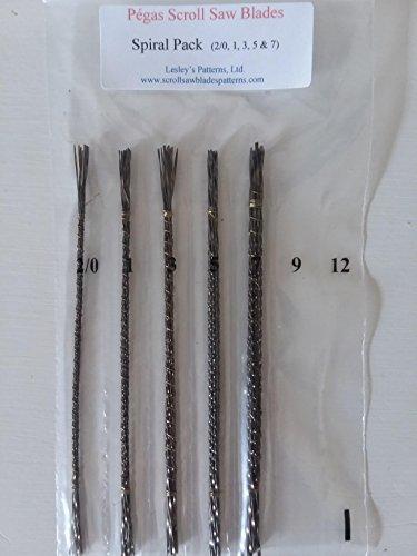 Spiral Scroll - Pegas 5 Dozen Spiral Scroll Saw Blades 5 Different Sizes Variety Intro Pack 2/0,1,3,5,7