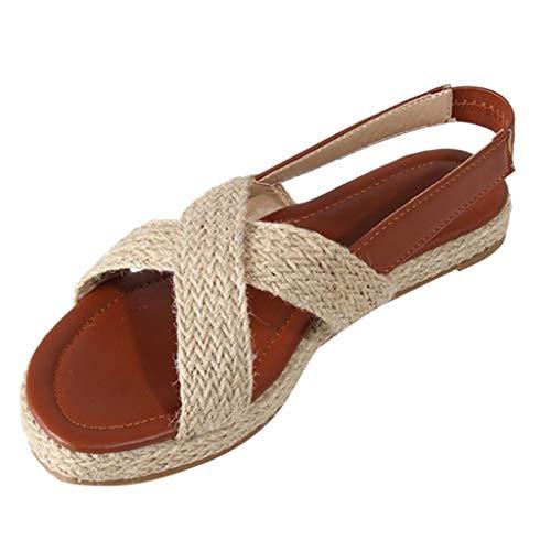 ONLY TOP Women's Espadrille Wedge Sandals Braided Jute Ankle Buckle Platform Sandals Brown