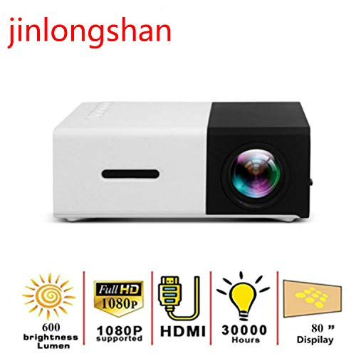 YG300 LED Mini 600 Lumen Portable Projector Support 1080P Full HD HDMI Playback USB Audio 3.5mm Home Theater Projector (Black)