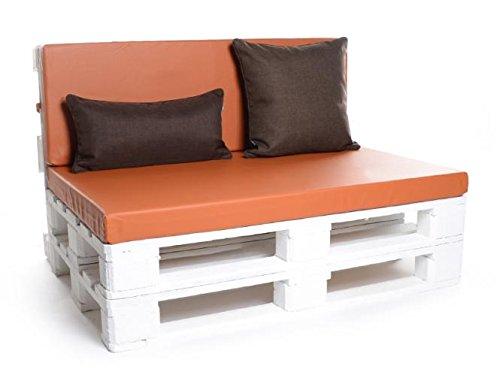 Palettenkissen, Gartenmöbel Auflagen, Sitzbankauflage, Matratzenauflagen auch m. Rückenlehne bzw. Dekokissen in Kunstleder terracotta, wasserabweisend und strapazierfähig