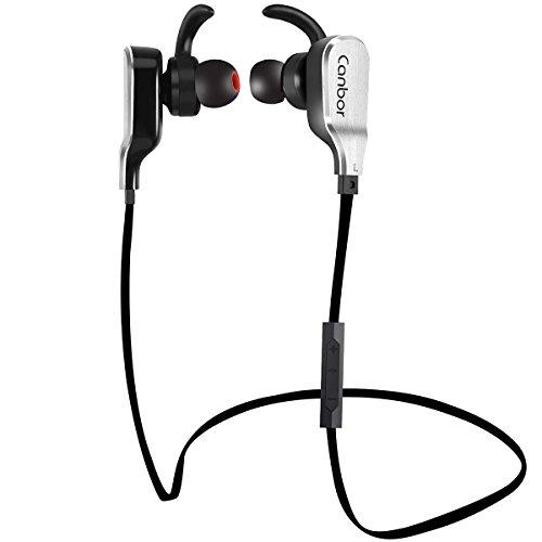 Bluetooth Kopfhörer Canbor Wireless Bluetooth Headset Stereo Sport Kopfhörer In Ear Ohrhörer mit Mikrofon für Apple iPhone iPad Samsung Galaxy Note und Android Handys - Schwarz