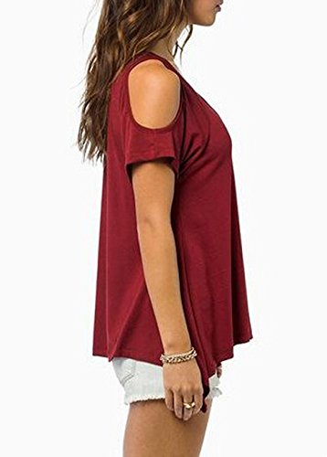 Bluetime Womens Casual Hollow Out Short Sleeve Off Shoulder Tunic Tops Shirt Blouse (Red)