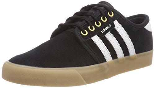 adidas Seeley, Baskets Basses Homme, Camouflage, 41 EU Noir (Core Black/Footwear White/Gold Metallic 0)