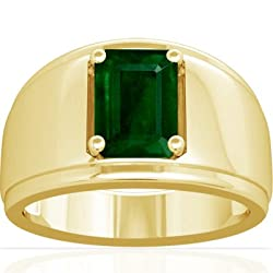 18K Yellow Gold Emerald Cut Emerald Men's Ring (GIA Certificate)