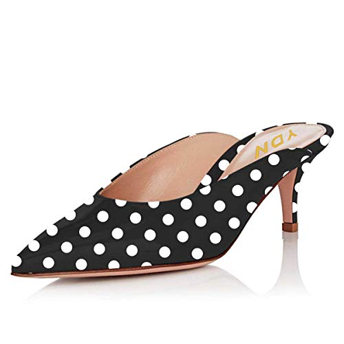 YDN Women Dress Pointed Toe Low Heel Loafers Slip on Mules Slide Sandals Shoes Black Polka Dots 12 - Womens Dots Sandals