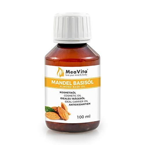 MeaVita Mandelöl Basisöl, süß, 1er Pack (1 x 100 ml), vegan, gentechnikfrei, ideal für Haut und Haar, für Aromatherapie & als Basisöl für Massageöle oder Naturkosmetik