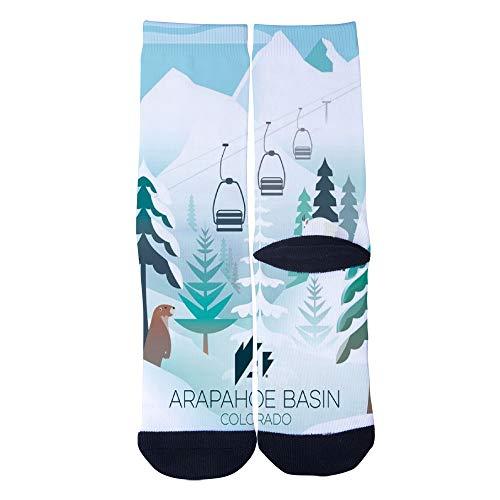 Men's Women's Custom ARAPAHOE BASIN COLORADO Ski poster Socks 3D Print Novel Creative Casual Crew Socks -