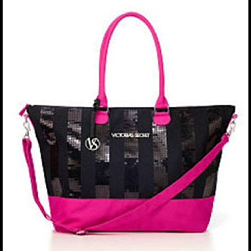 Victoria's Secret BLING Sequin X-Large Tote/Bag Hot Pink & Black by Victoria's Secret I