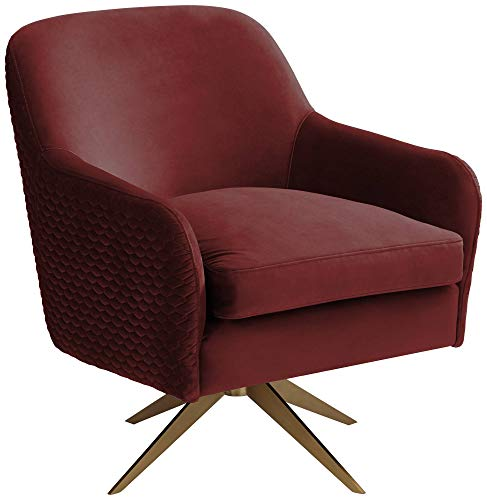 Ames Quilted Wine Velvet Swivel Chair – Studio 55D
