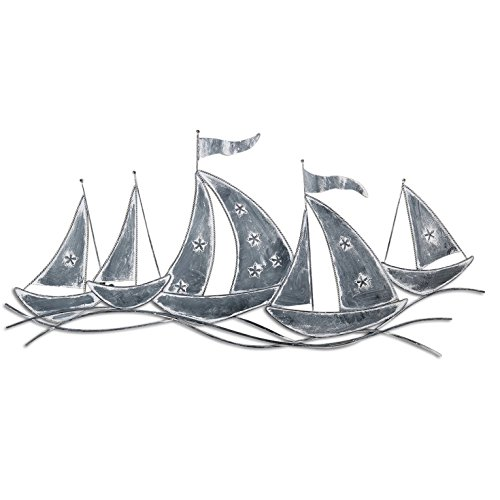 The-Rustic-Regatta-Cape-Cod-Style-Sail-Boats-Distressed-Gray-Iron-Sculpture-Hand-Crafted-Wall-Art-31-W-x-D-x-15H-Inches-80W-x-2D-x-38Hcm-by-Whole-House-Worlds