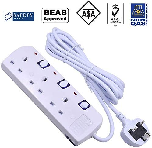 Extension Lead with Individually Switched Mscien 2 Gang Outlets Socket Surge 3M Inculding Sockets Extension Cord Overload Protection Wall Mounted Power Strip