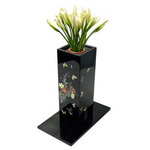 Neue Vase Topf Blumen Bouquet schwarz mit Perlmutt Schmetterling Carre