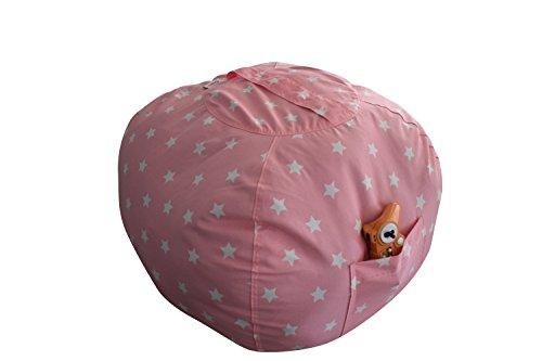 EXTRA LARGE Stuffed Animal Storage Bean Bag Chair | Finest Storage, Hammock & Organizer for kids' Plush, Jumbo & Cuddly Toys | Premium Quality Cotton Canvas | Free E-Book 40'' (Pink)