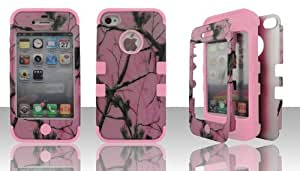 Apple iPhone 4 hybrid 3 in 1 2D Pink camo with Pink Gel high impact shock defender plastic outside with silicone inside 3 in1 2D hard case phone cover