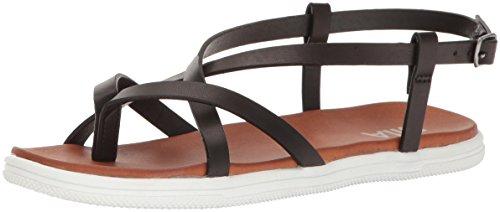 MIA Women's Elana Flat Sandal, Black, 8 M US