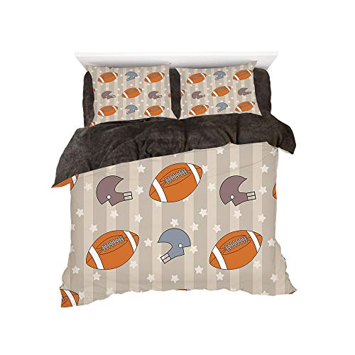 All Season Flannel Bedding Duvet Covers Sets for Girl Boy Kids 4-Piece Full for bed width 4ft Pattern by,Football,Faded Stars and Stripes with Classical Sports Symbols USA Retro Tile,Orange Mauve Slat