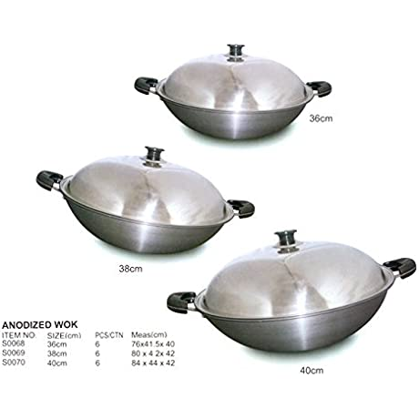38CM ANODIZED WOK Case Pack Of 6