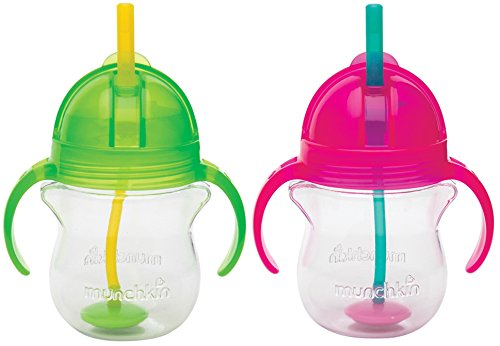 Munchkin Click Lock 7 Ounce Weighted Flexi-Straw Cup, 2 Pack, Green/Pink by Munchkin