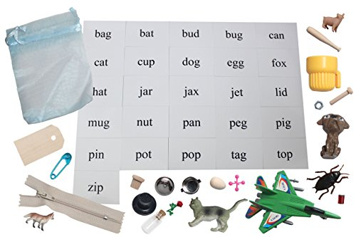 Curious Minds Busy Bags CVC Alphabet Object Set - FULL SET - CVC Words Alphabet Objects and Cards - Language Tubs Miniatures- Montessori Miniture Objects for CVC Words
