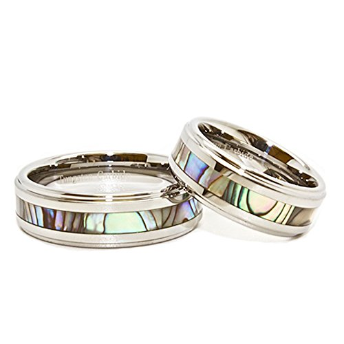Blue Chip Unlimited Matching 8mm Tungsten Carbide Wedding Rings with Abalone Shell Inlay (See listing for sizes)