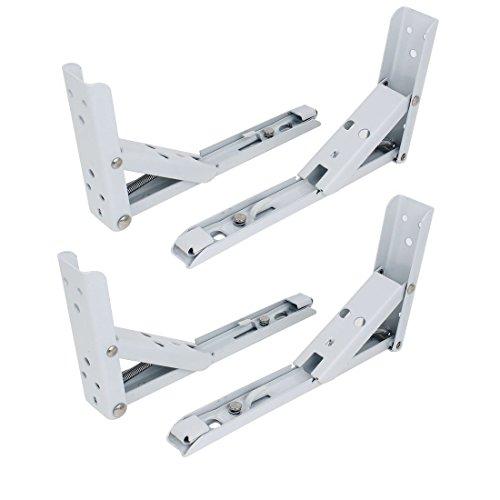 Metal Shelf - TOOGOO(R) White Baked Enamel Metal Folding Wall Shelf Support Brackets 4 (Baked Enamel Wall)
