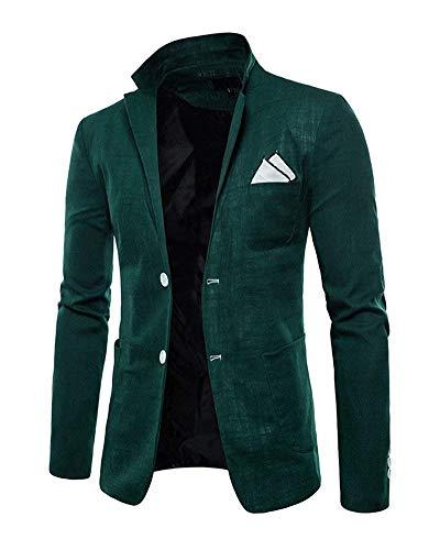 Manches Vêtements Blazer Survêtement Boutons Élégant Hommes Dunkelgrün Veste De Longues Deux Costume Mariage À zppYqrPw