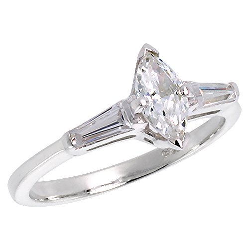 Marquise Tapered Ring (Sterling Silver Cubic Zirconia Marquise Cut Engagement Ring Tapered Baguettes 1/3 ct, size 10)