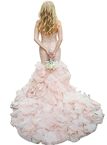 Vivibridal Women's Sweetheart Ruched Pleated Mermaid Lace Up Back Bridal Dresses Blush Pink US10 by Vivibridal (Image #7)
