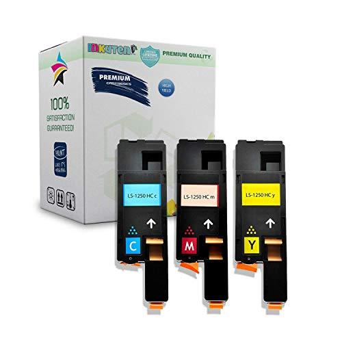 INKUTEN Dell 1250, 1350, 1355, 1760, 1765 Series High Yield Toner Cartridge - 1 Cyan, 1 Yellow, 1 Magenta - (Series Compatible Ink)