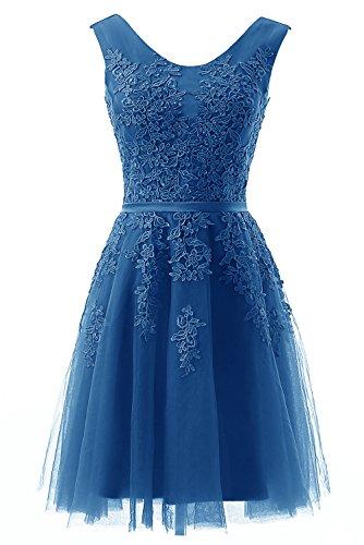 Ruiyuhong Indigo Short Lace Applique Bridesmaid Gown Homecoming Party (Indigo Satin Bridesmaid Dress)