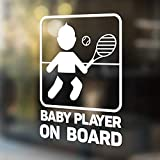 Babycalla Baby on Board Signs for Car Windows Sticker White Vinyl Boy and Girl (New Tennis Design 2019) 34 Variations
