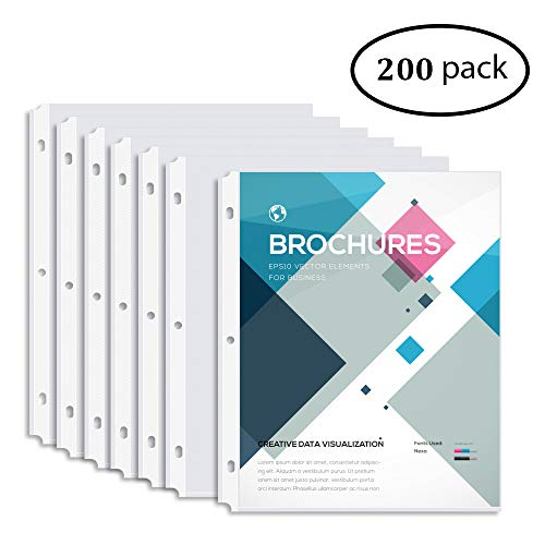 MAKHISTORY Clear Sheet Protectors - 200 Pack, 8.5 x 11 inch Page Protectors for 3 Ring Binders, Top Loading, Non-Glare, Archival Safe, Letter Size ()