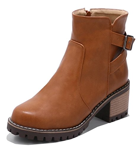 IDIFU Womens Fashion Buckle Zip Up Round Toe Mid Chunky Heel Martin Ankle Boots Yellow uhiyZqVYW