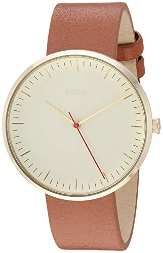Fossil Women's 'The Essentialist' Quartz Stainless Steel and Leather Casual Watch, Color:Brown (Model: ES4424)