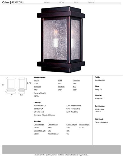 Maxim 4651CDBU Cubes 2-Light Outdoor Wall Lantern, Burnished Finish, Seedy Glass, CA Incandescent Incandescent Bulb , 60W Max., Dry Safety Rating, Standard Dimmable, Fabric Shade Material, 3360 Rated Lumens by Maxim Lighting (Image #1)