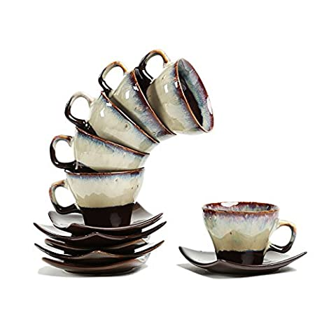Cultural Concepts Noveau Cup N Saucer Brown Studio - Set Of 6 Cups N Saucers Standard