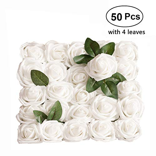 Artificial Flower Rose, 50pcs Real Looking Artificial Roses w/Stem for Bridal Wedding Bouquets Centerpieces Baby Shower DIY Party Home Décor, White with 4 Leaves