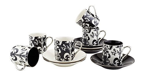 Espresso Coffee Cups with Matching Saucers (Set of 6) by Yedi Houseware|Premium Quality Porcelain In Stylish, Black/White Colors for the Perfect Italian Espresso Experience|Stunning Hostess Gift Idea|2½oz