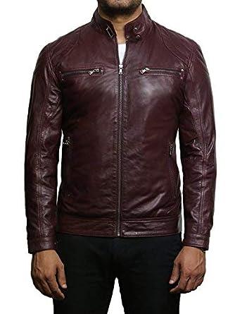 a3b39a9ad6d7 Brandslock Veste de moto en cuir d agneau pour homme en cuir d ...