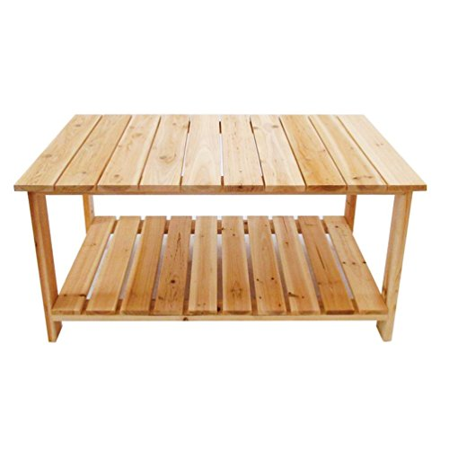 TANGON Outdoor Dining Table Coffee Table with Bottom Shelf | Perfect For Patio | Rustic Natural (Natural)