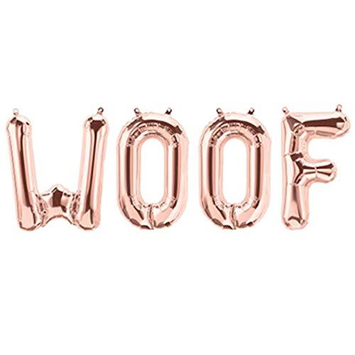 Tellpet WOOF Balloon, Woof Balloon Banner for Dog Birthday Party Decorations, Rose Gold ()