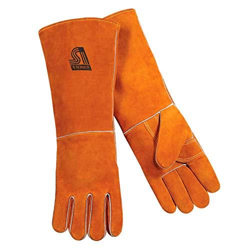 - Steiner 21918-L Welding Gloves, Brown Y-Series 18-Inch Length Shoulder Split Cowhide, Foam Lined, Large