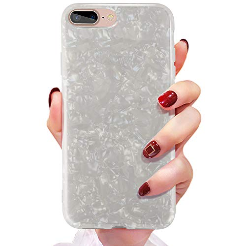 COOLQO Compatible for iPhone 8 Plus/iPhone 7 Plus Case 5.5 inch (2018), Women Girls Men Ultra-Thin Glitter Shell Texture Fashion Design Slim Soft Glossy Silicone TPU Phone Protective Cover - White