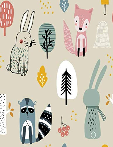 Beaver & rabbits Notebook: Cute Animals In Forest - College Ruled Black Lined Notebook, Journal, Dairy