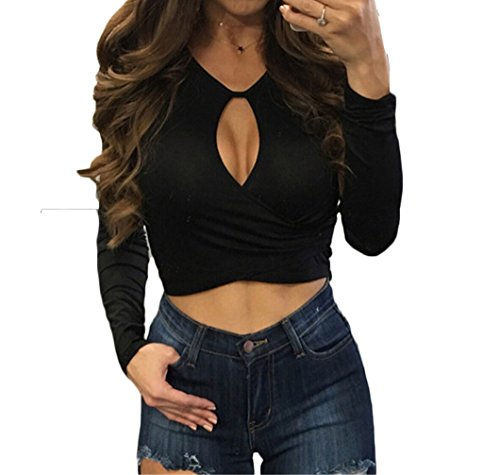 [Women Long Sleeves Sexy Slim Chest Partially Open Bodycon T-shirt for Night Club (S, black)] (Long Sleeve Birthday Shirt)