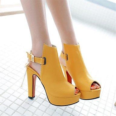 LFNLYX Sandalias mujer Primavera Verano Otoño Comfort Novedad Materiales personalizados polipiel parte & vestido de noche casual tacón cuña beige rosa Yellow