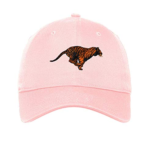 LowProfileSoft Hat Running Tiger Embroidery Animal Name Cotton Dad Hat Flat Solid Buckle - Soft Pink, Design Only