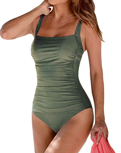 Upopby Women's Vintage Padded Push up One Piece Swimsuits Tummy Control Bathing Suits Plus Size Swimwear Olive Green 6 ()