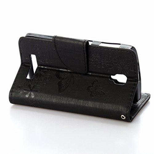 Custodia Lenovo A1000 Cover Case, Ougger Fiore Farfalla Portafoglio PU Pelle Magnetico Stand Morbido Silicone Flip Bumper Protettivo Gomma Shell Borsa Custodie con Slot per Schede (Nero)